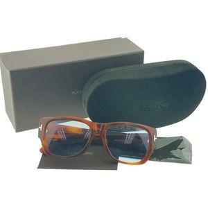 FT0493-53V Rectangle Men's Havana Frame Sunglasses